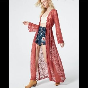NWT Band of Gypsies Ainsley Lace Duster Kimono